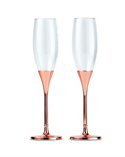Wedding Champagne Toasting Flutes - Rose Gold Diamond Glitter - Sweet Heart Details