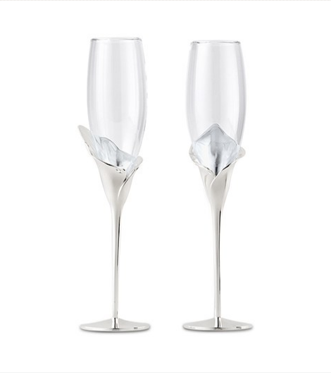 Wedding Champagne Toasting Flutes - Silver Calla Lily Stem - Sweet Heart Details