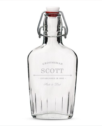 "Personalized Vintage Inspired Clear Glass Hip Flask (""Established Date"" Etching)"