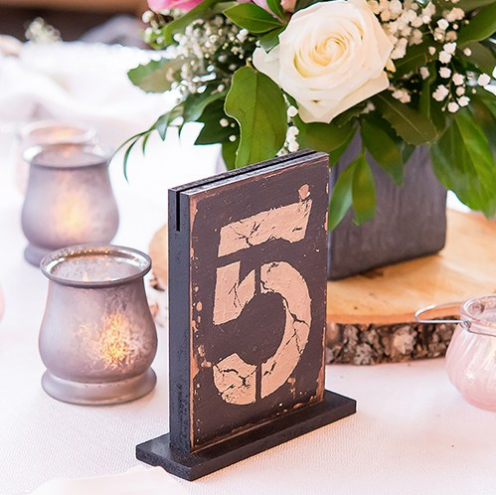 Rustic Self-Standing Table Numbers / Holders (1-12, 1-18) - Sweet Heart Details