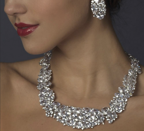 """The Brighton"" Sparkling CZ 'Diamond' Collar & Earrings Set-Jewelry Sets-Wedding Factory-NE-1293-S-CL-Sweet Heart Details"