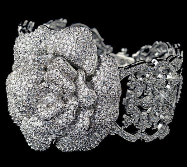 """The Dee-Dee"" Pave CZ Rose Crystal Bracelet-Bracelets-Wedding Factory-B-13048-RD-CL-Sweet Heart Details"