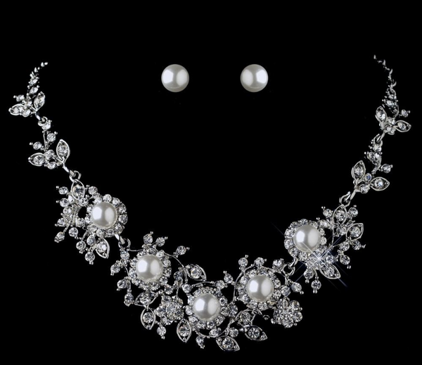 """The Eldora"" Floral White Pearl & Rhinestone Set"