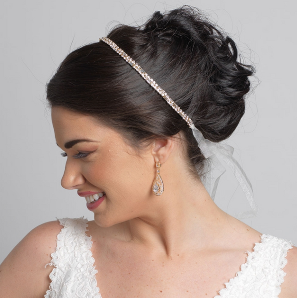 """The Emmie"" Modern Rhinestone Bridal Headband-Tiaras & Headbands-Wedding Factory-Sweet Heart Details"