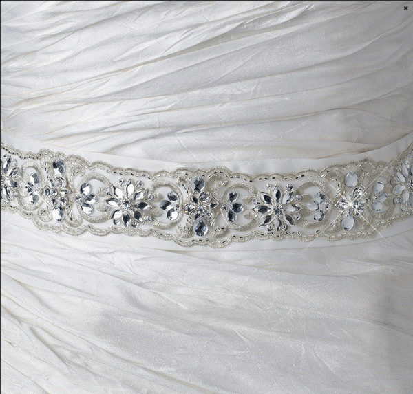 """The Florian"" Marquise Rhinestone Embroidered Belt-Sashes & Belts-Wedding Factory-Belt-252-Sweet Heart Details"