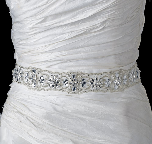 """The Florian"" Marquise Rhinestone Embroidered Belt - Sweet Heart Details"