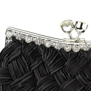 """The Gaya"" Satin Weave Evening Bag - Sweet Heart Details"