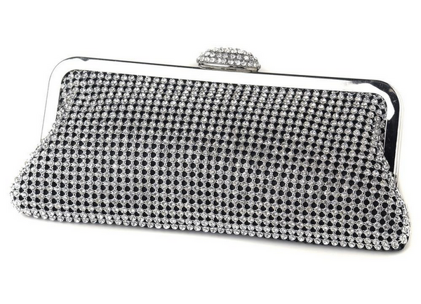 """The Gaye"" Dark Silver Crystal Evening Bag-Bags-Wedding Factory-EB-327-Silver-Sweet Heart Details"