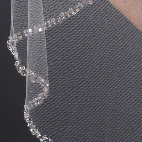 """The Ginnifer"" Single Layer Swarovski Beaded Veil - Sweet Heart Details"
