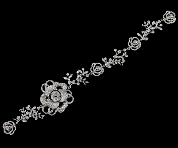 """The Emma"" Rhodium Swarovski Rose Headband-Tiaras & Headbands-Wedding Factory-HP-3347-RD-CL-Sweet Heart Details"