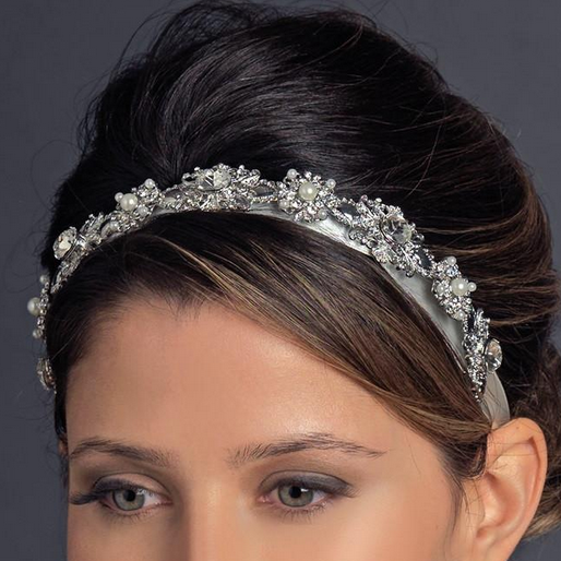 """The Arial"" Antique Pearl Ribbon Headband - Sweet Heart Details"