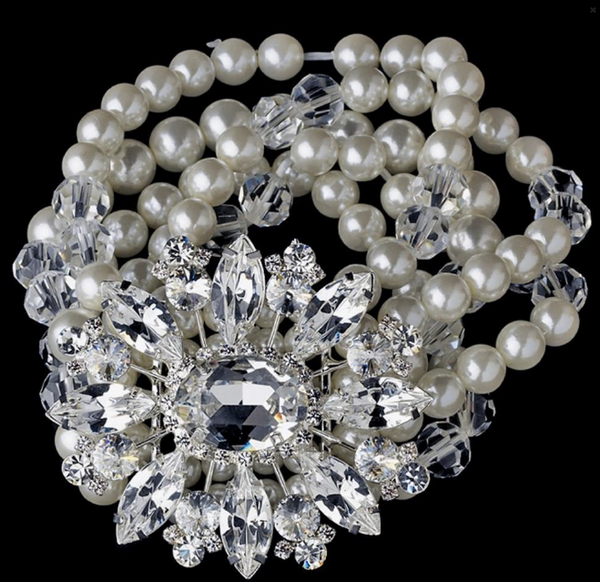 """The Ashleigh"" Vintage Pearl & Swarovski Bracelet-Bracelets-Wedding Factory-Sweet Heart Details"