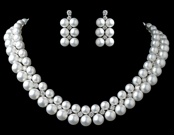 """The Kelly"" Rhodium White Pearl & CZ Necklace and Earring Set - Sweet Heart Details"