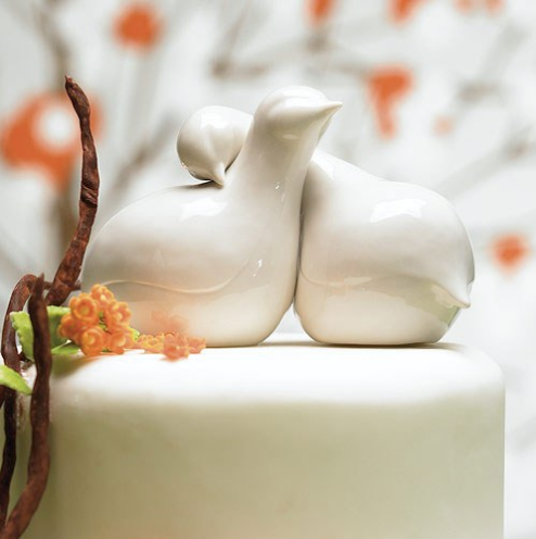 Contemporary Love Birds Cake Topper - Sweet Heart Details