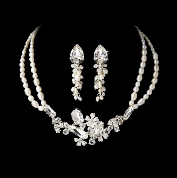 """The Allegra"" Swarovski Crystal & Freshwater Pearl Silver Jewelry Set"