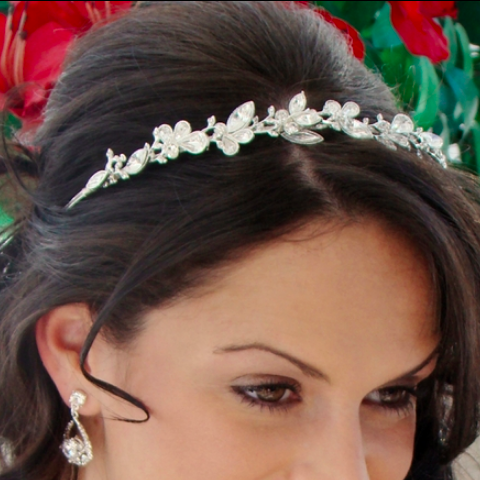 """The Alyssa"" Crystal Butterfly Headband - Sweet Heart Details"