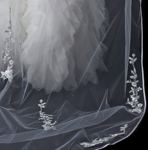 """The Angel"" Cathedral Length Embroidered Veil - Sweet Heart Details"