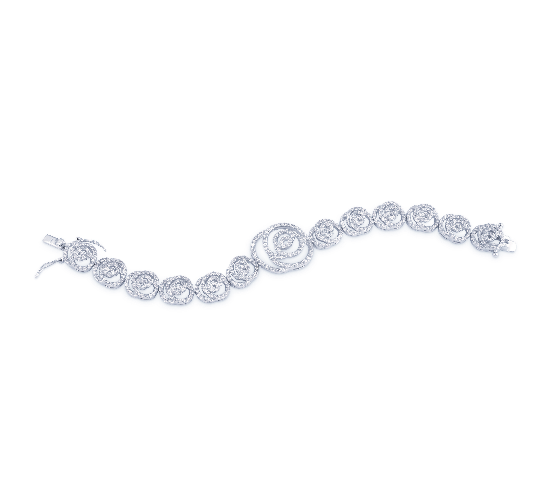 """The Belle"" Vintage Silver CZ Rose Bracelet - Sweet Heart Details"