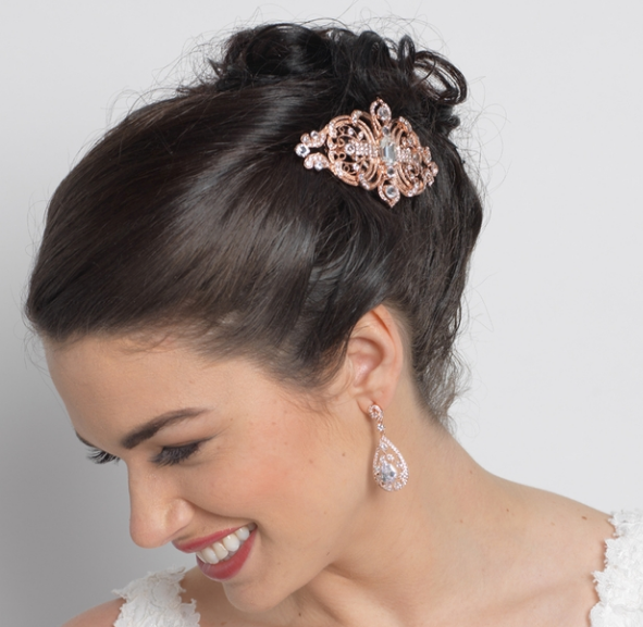 """The Etta"" Crystal Art-Deco Rose Gold Hair Comb-Combs & Clips-Wedding Factory-Sweet Heart Details"