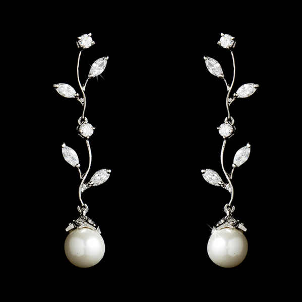 """The Emily"" Silver 'Diamond' CZ & Pearl Vine Earrings-Earrings-Wedding Factory-E-4013-S-DW-Sweet Heart Details"