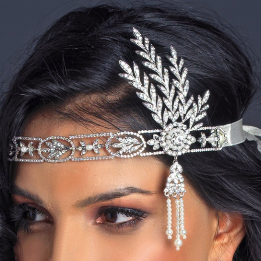 """The Hazel"" Great Gatsby Rhinestone Headpiece - Sweet Heart Details"