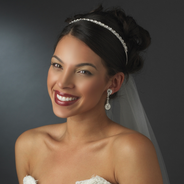"""The Hudson"" Delicate Single Row Crystal Headband - Sweet Heart Details"