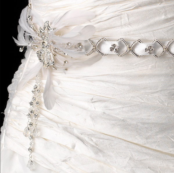 """The Lynsey"" Silver & White Swarovski Feather Belt or Headpiece-Sashes & Belts-Wedding Factory-Belt-HP-1532-Sweet Heart Details"