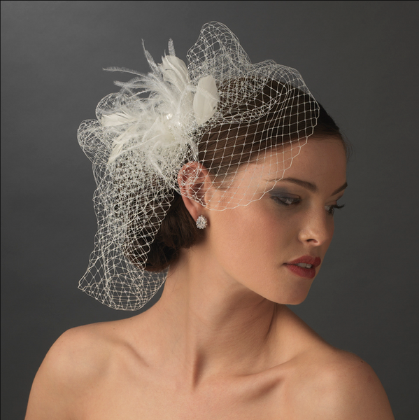 """The Louise"" Rhinestone Netted Couture Fascinator & Birdcage Veil - Sweet Heart Details"