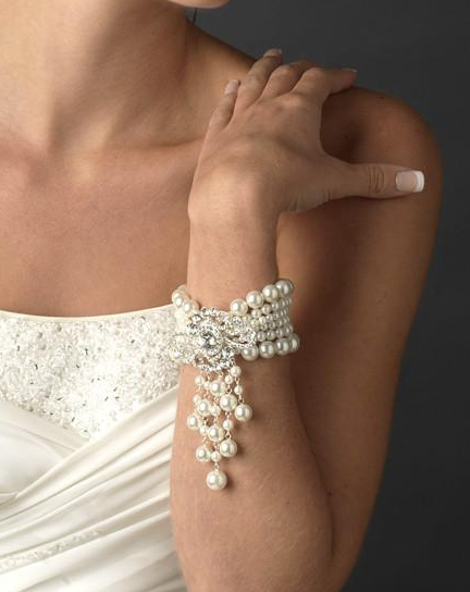 """The Olyvia"" Pearl & Crystal Rose Bracelet-Bracelets-Wedding Factory-Sweet Heart Details"