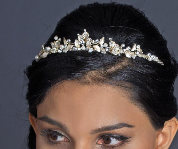 """The Tanya"" Rhinestone Pearl Headband - Sweet Heart Details"