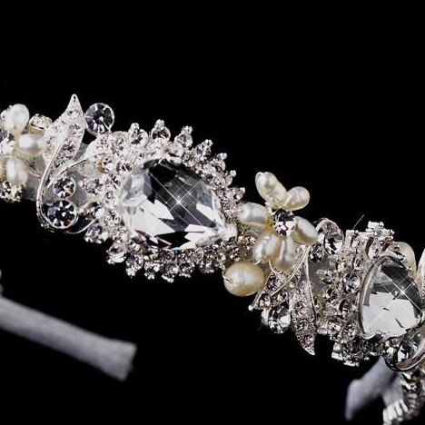 """The Jocelyne"" Silver Studded Crystal Headband"