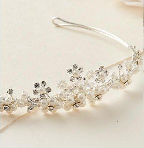 """The Sydney"" Delicate Crystal and Pearl Tiara"
