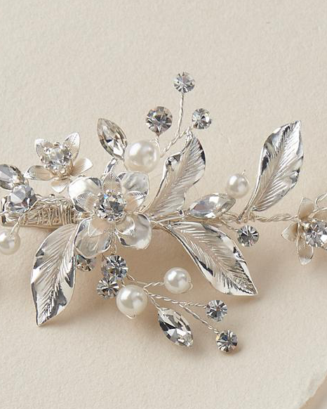 """The Katie"" Petite Pearl & Floral Bridal Clip-Combs & Clips-Dareth Colburn-Sweet Heart Details"