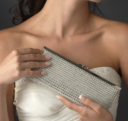 """The Shannon"" Silver or Gold Clear Crystal Evening Bag - Sweet Heart Details"