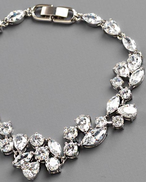 """The Shelby"" Delicate CZ Bracelet-Bracelets-USA Bride-JB-1275-Sweet Heart Details"