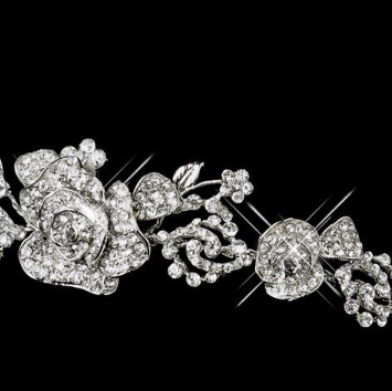 """The Rosemarie"" Silver Rose Headpiece"