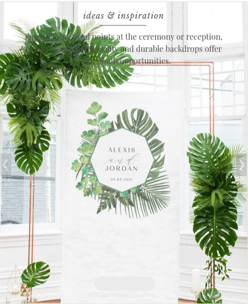 Greenery Personalized Photo Backdrop - Sweet Heart Details
