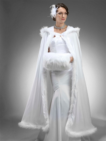 Full Length Hooded Satin Bridal Cloak in White with Faux Angora Trim-Wraps, Capes, Capelets, Stoles-Mariell-3368CL-W-Sweet Heart Details