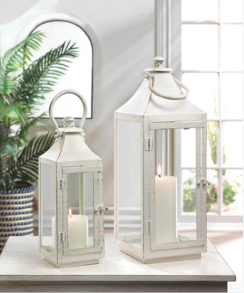 Traditional White Iron Lanterns-Lanterns, Candles-Kohler Home Decor-Sweet Heart Details