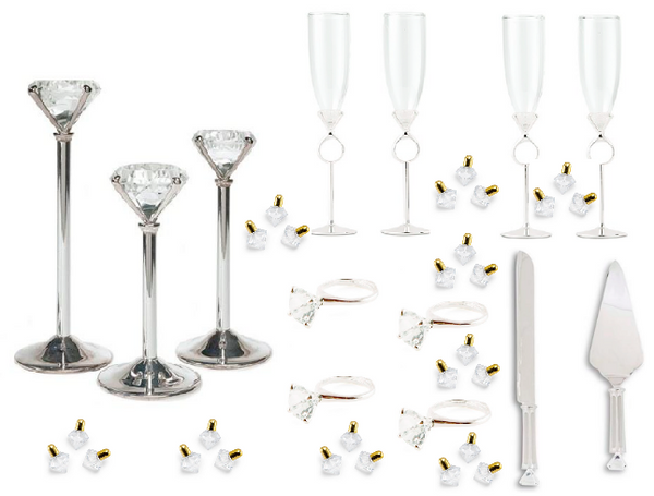 Diamond Studded Dinner Bundle for Eight-Table Top Items-Wedding Star-Sweet Heart Details