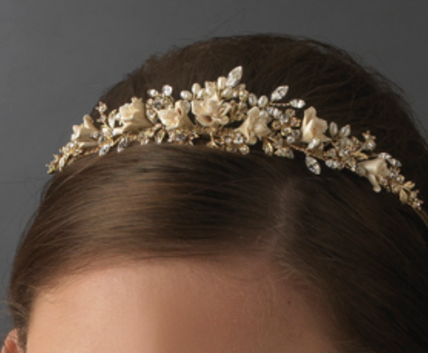 Gold Champagne Flower Garden Bridal Pearl Headband-Tiaras & Headbands-Wedding Factory-HP-7448-G-CHAMPAGNE-Sweet Heart Details