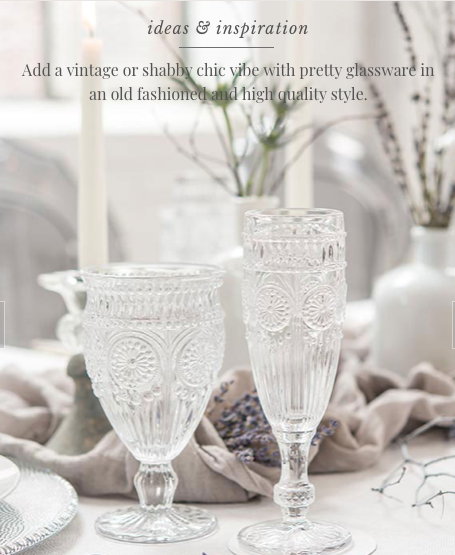 Vintage Inspired Pressed Glass Flutes (set of 12) - Sweet Heart Details