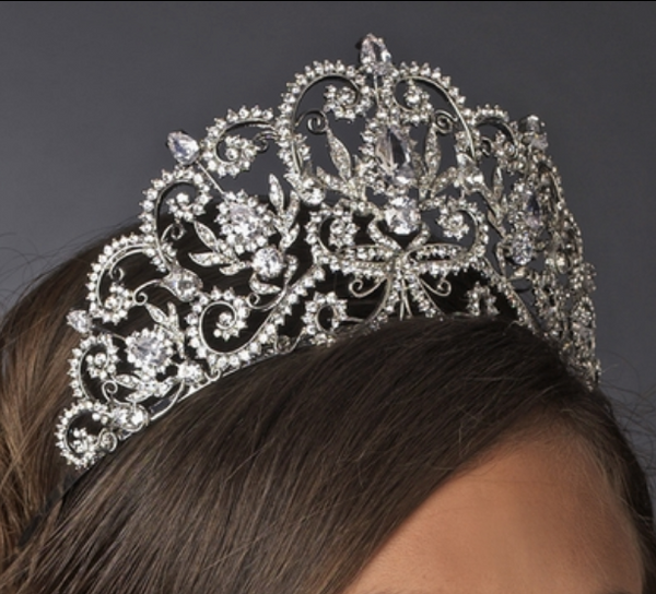 """The Veronica"" Royal Princess Rhinestone & Center CZ Crystal Tiara-Tiaras & Headbands-Wedding Factory-Sweet Heart Details"