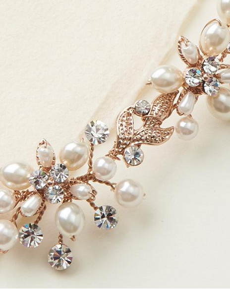 """The Natasha"" Delicate Pearl Jewelry Set-Jewelry Sets-Dareth Colburn-JS-1637-RG-Sweet Heart Details"