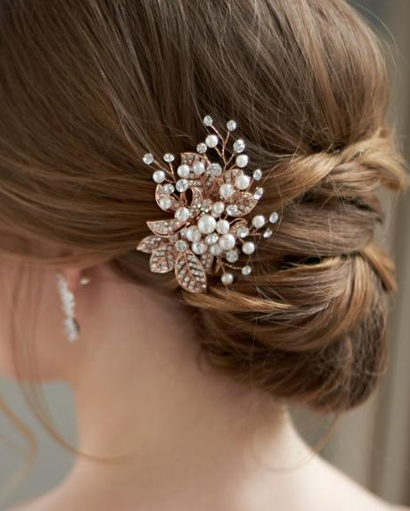 """The Laura"" Petite Pearl & Leaf Clip-Combs & Clips-Dareth Colburn-Sweet Heart Details"