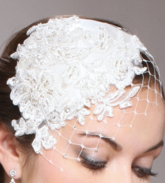 Retro Lace and Silk Bridal Cocktail Hat with Wide Netting - Sweet Heart Details