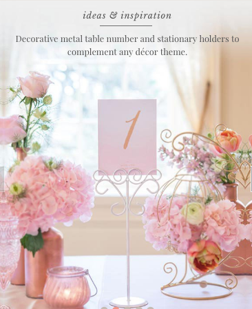 Ornamental Wire Table Number Holders (24, 48, 72)-Table Numbers-Sweet Heart Details