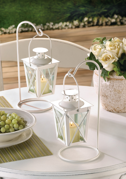 White Railroad Candle Lanterns-Lanterns, Candles-Sweet Heart Details
