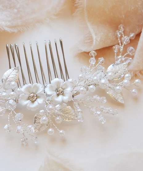 """The Josette"" Flower Comb-Combs & Clips-TC-2299-Sweet Heart Details"