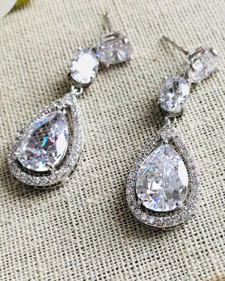 """The Tara"" CZ Earrings - Sweet Heart Details"